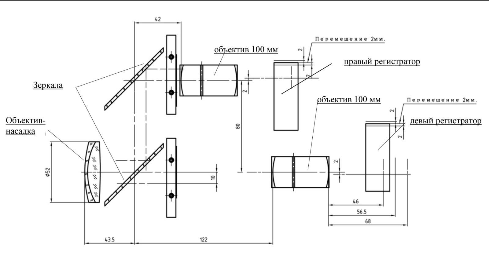Принципиальная оптическая система для стереомакросъёмки на два раздельных регистратора
