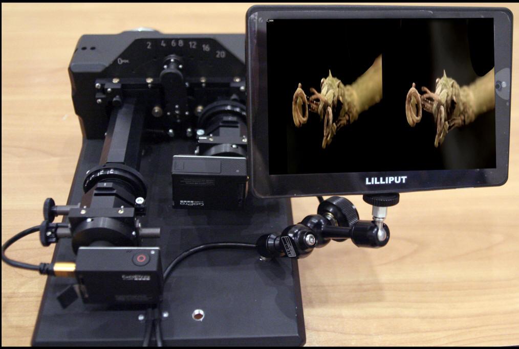 Киноустановка для макростереосъёмки, вид сверху